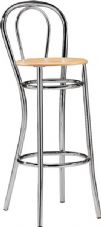 Opera Chrome High Stool & Footrail with Poilshed Wooden Seat